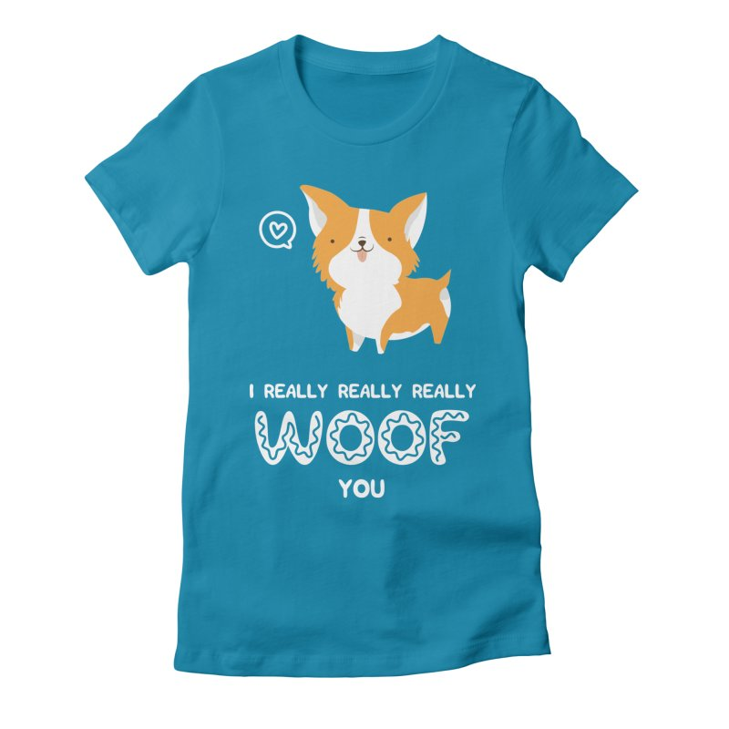 Corgi love Women's Fitted T-Shirt by Origami Studio