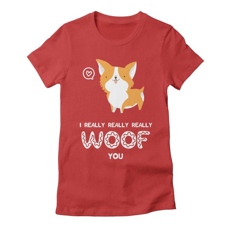 Corgi love Women's Fitted T-Shirt by Origami Studio