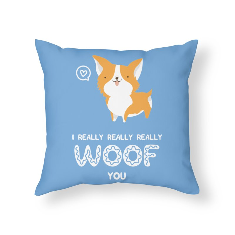 Corgi love Home Throw Pillow by Origami Studio