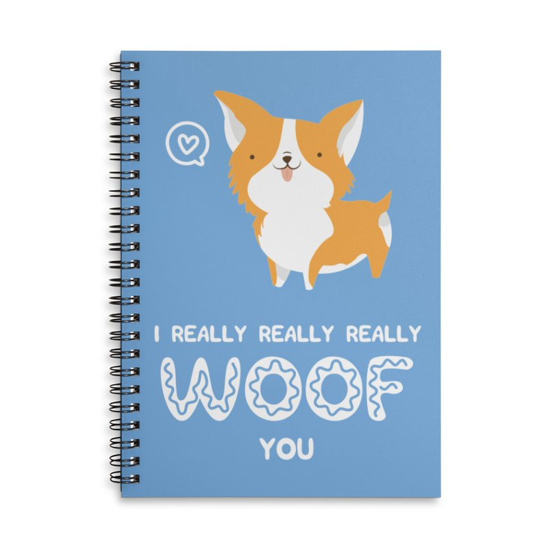 Corgi love Accessories Lined Spiral Notebook by Origami Studio