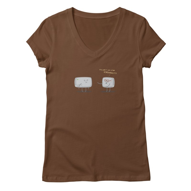 STOP SCREAMING Women's V-Neck by Origine's Shop