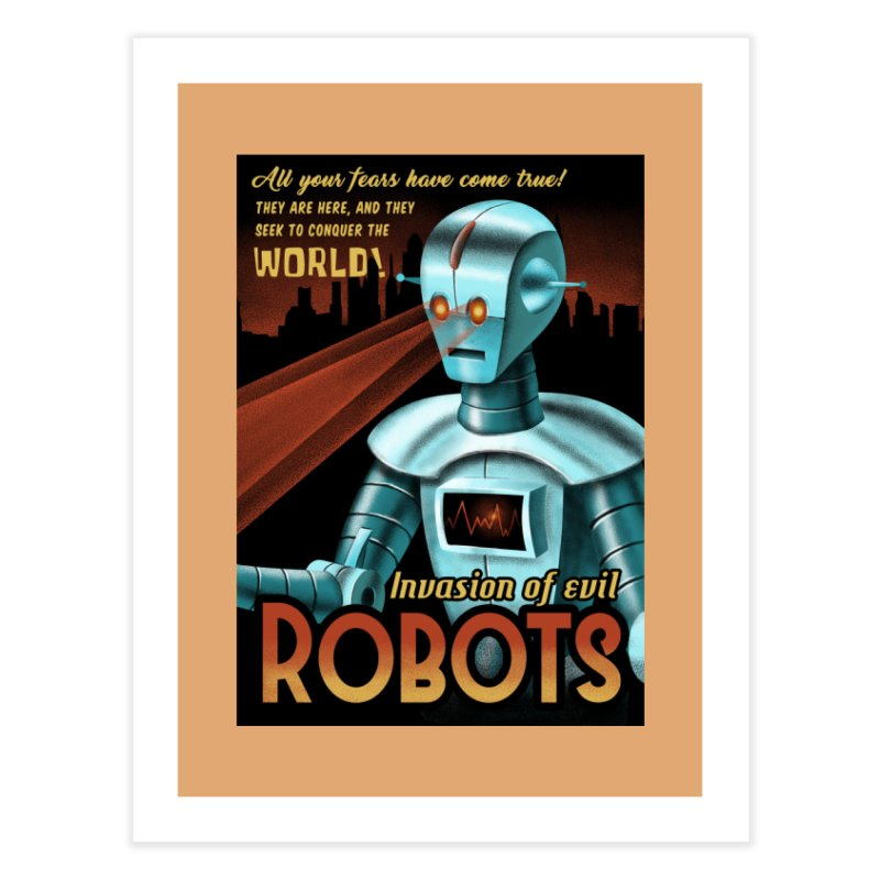Invasion of Evil Robots Home Fine Art Print by Os Frontis
