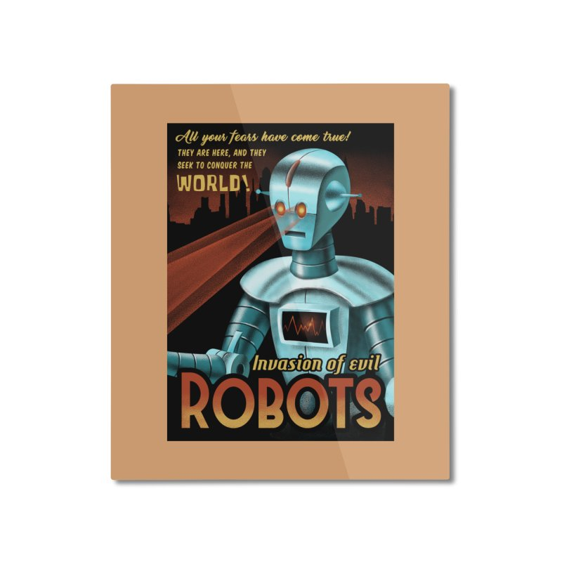 Invasion of Evil Robots Home Mounted Aluminum Print by Os Frontis