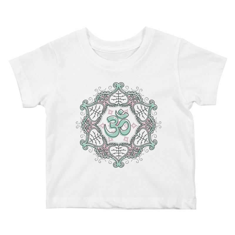 Om Mandala Kids Baby T-Shirt by Os Frontis