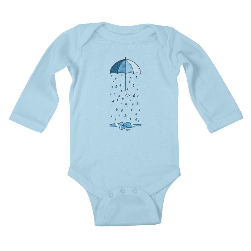 Raining Umbrella Kids Baby Longsleeve Bodysuit by Os Frontis