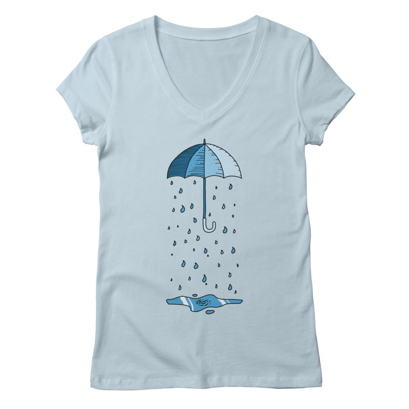Raining Umbrella Women's V-Neck by Os Frontis