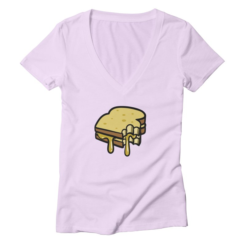 Grilled Cheese Sandwich Women's V-Neck by Os Frontis