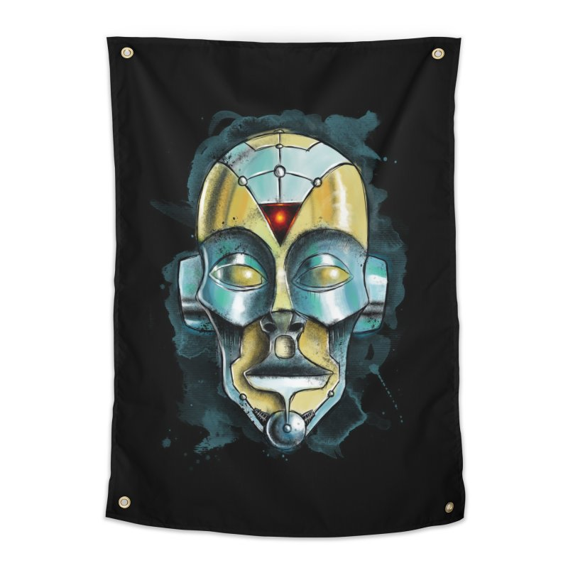 Cyber Mask Home Tapestry by Os Frontis