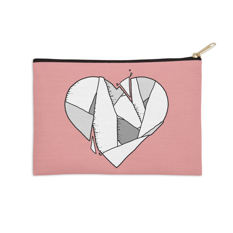 Broken Heart Accessories Zip Pouch by Os Frontis