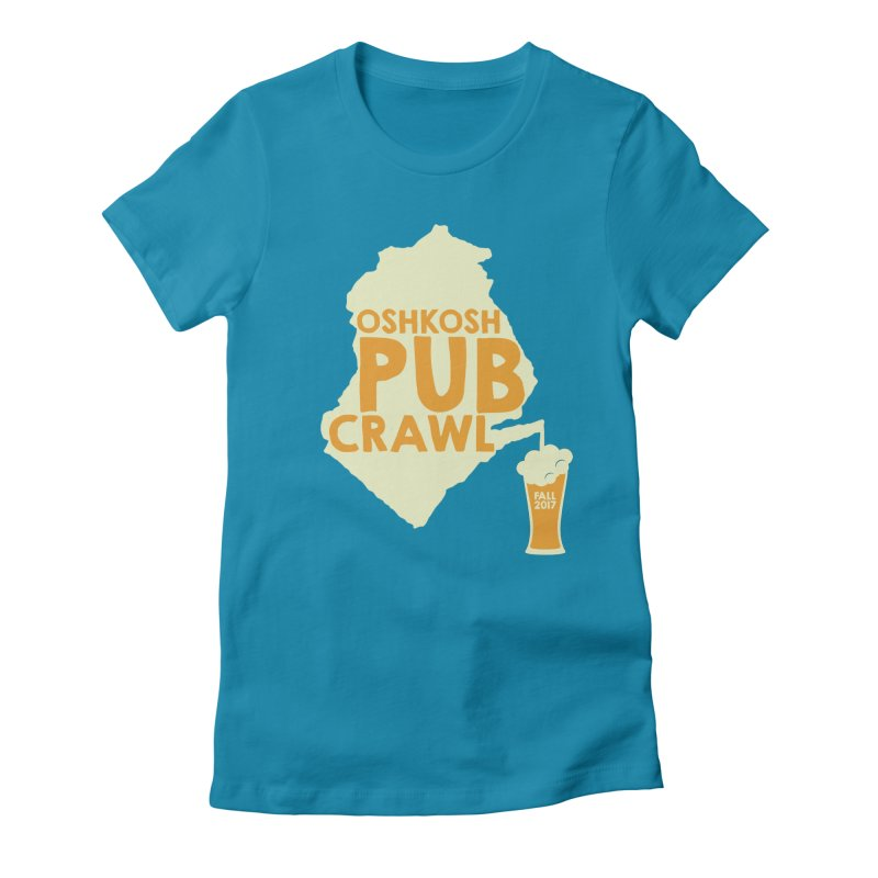 On Tap (Multiple Colors) in Women's Fitted T-Shirt Turquoise by Oshkosh Pub Crawl