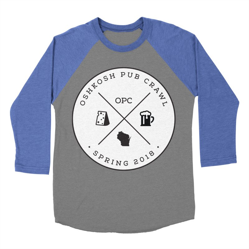 Badge in Men's Baseball Triblend Longsleeve T-Shirt Blue Triblend Sleeves by Oshkosh Pub Crawl