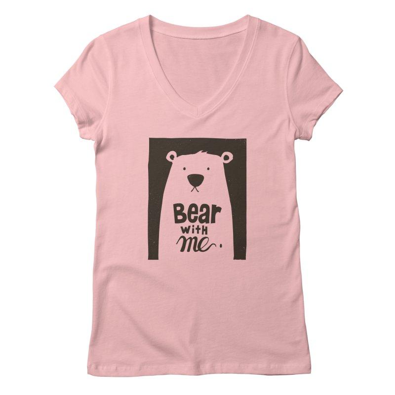 Bear With Me Women's V-Neck by osinnowo's Artist Shop