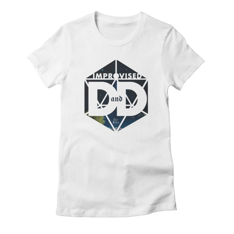 Improvised D&D Logo - stars in Women's Fitted T-Shirt White by Out On A Whim
