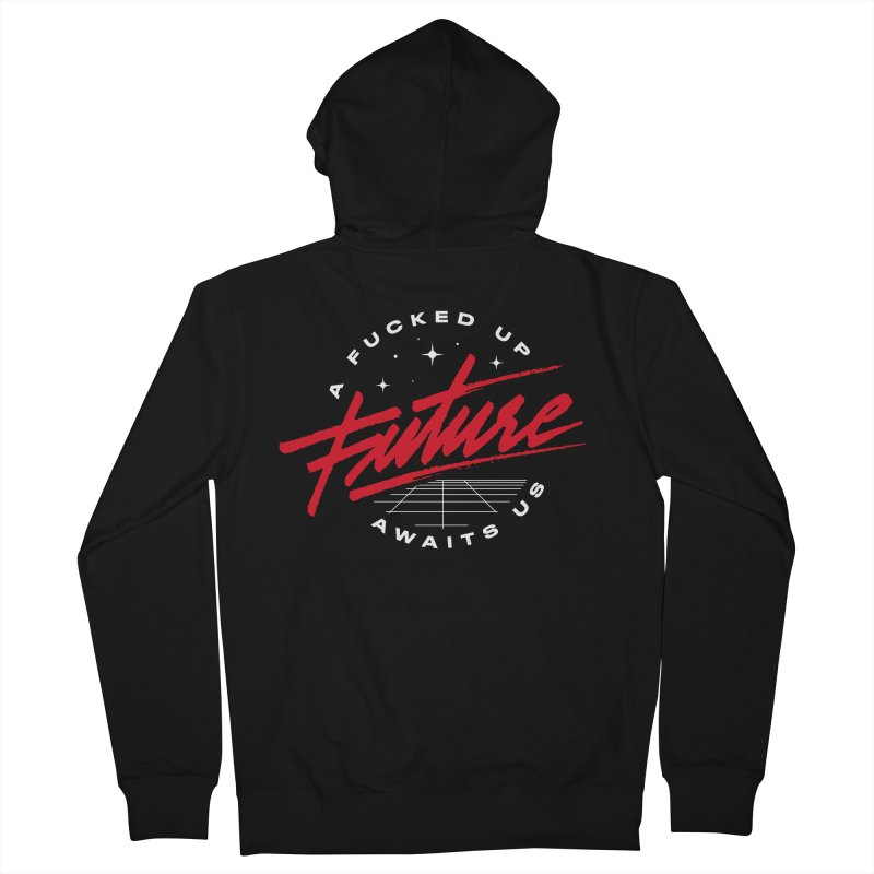 F-UP FUTURE RED Men's French Terry Zip-Up Hoody by OVERGLOW 80s shop