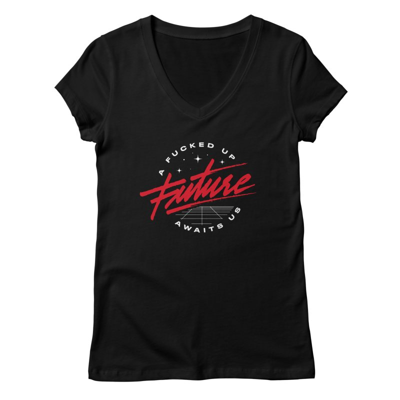 F-UP FUTURE RED Women's Regular V-Neck by OVERGLOW 80s shop