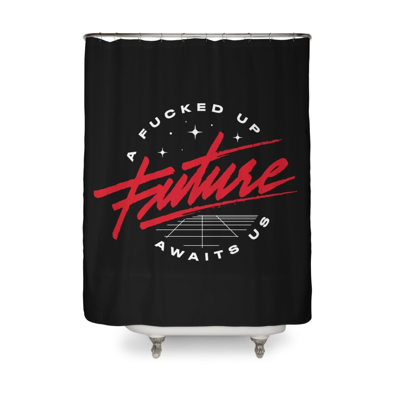 F-UP FUTURE RED Home Shower Curtain by OVERGLOW 80s shop