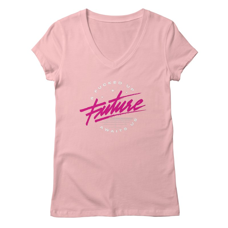 F-UP FUTURE PINK Women's Regular V-Neck by OVERGLOW 80s shop