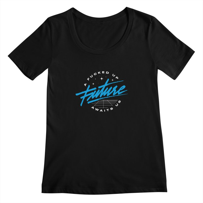 F-UP FUTURE BLUE Women's Scoopneck by OVERGLOW 80s shop