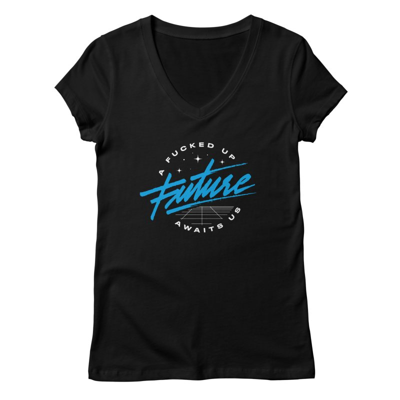 F-UP FUTURE BLUE Women's V-Neck by OVERGLOW 80s shop