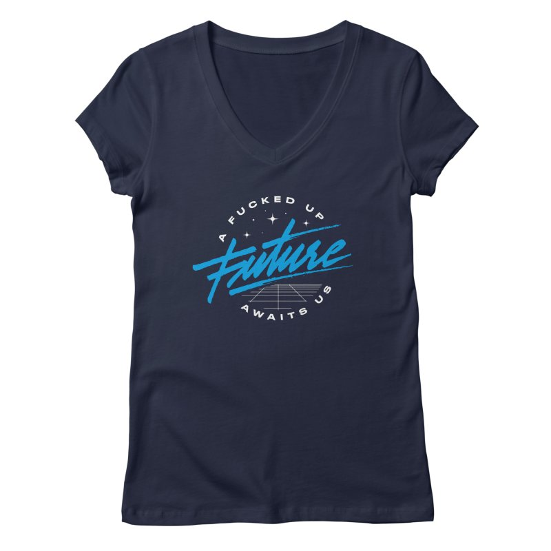 F-UP FUTURE BLUE Women's Regular V-Neck by OVERGLOW 80s shop