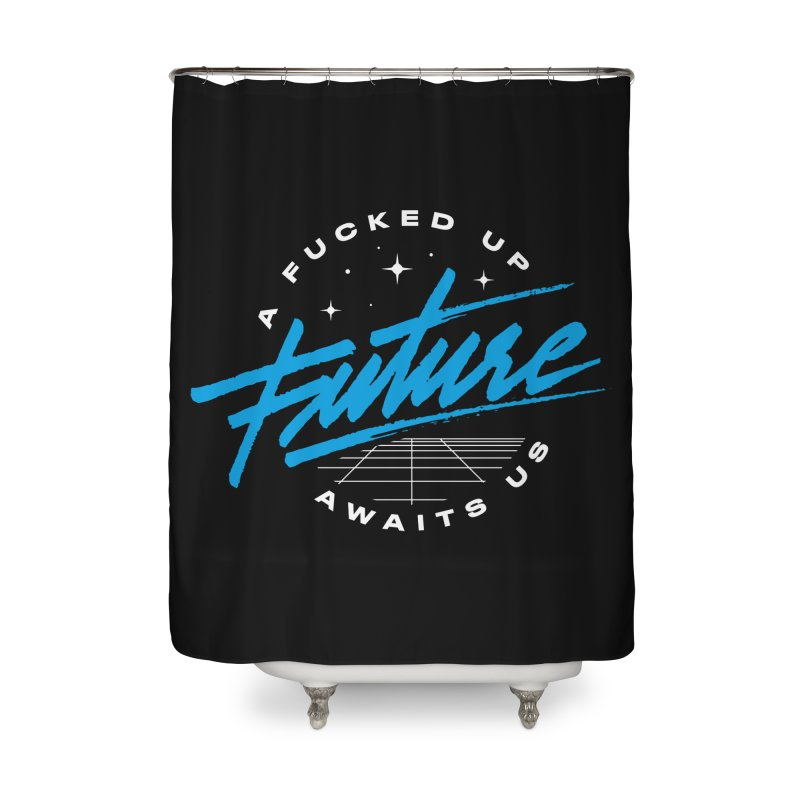 F-UP FUTURE BLUE Home Shower Curtain by OVERGLOW 80s shop