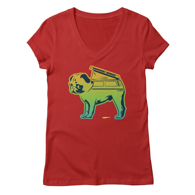 Special Edition Rainbow #puglife Women's V-Neck by Ovid Nine Creative Lab signature shirts