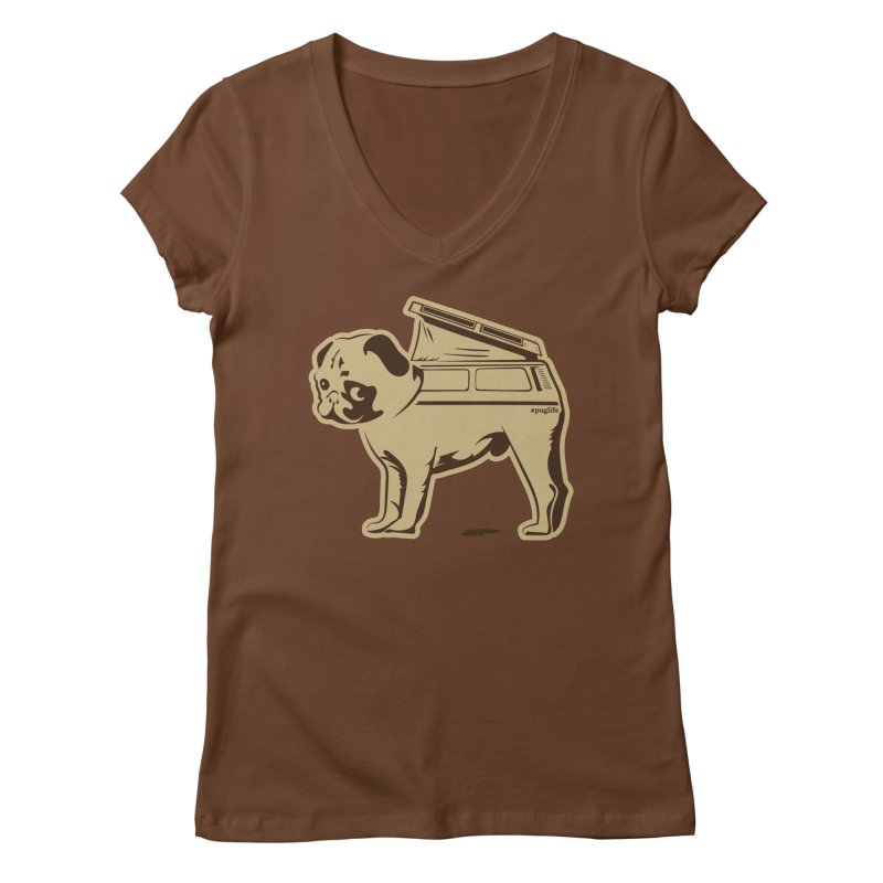 #puglife Women's V-Neck by Ovid Nine Creative Lab signature shirts