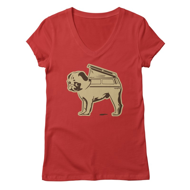 #puglife Women's Regular V-Neck by Ovid Nine Creative Lab signature shirts