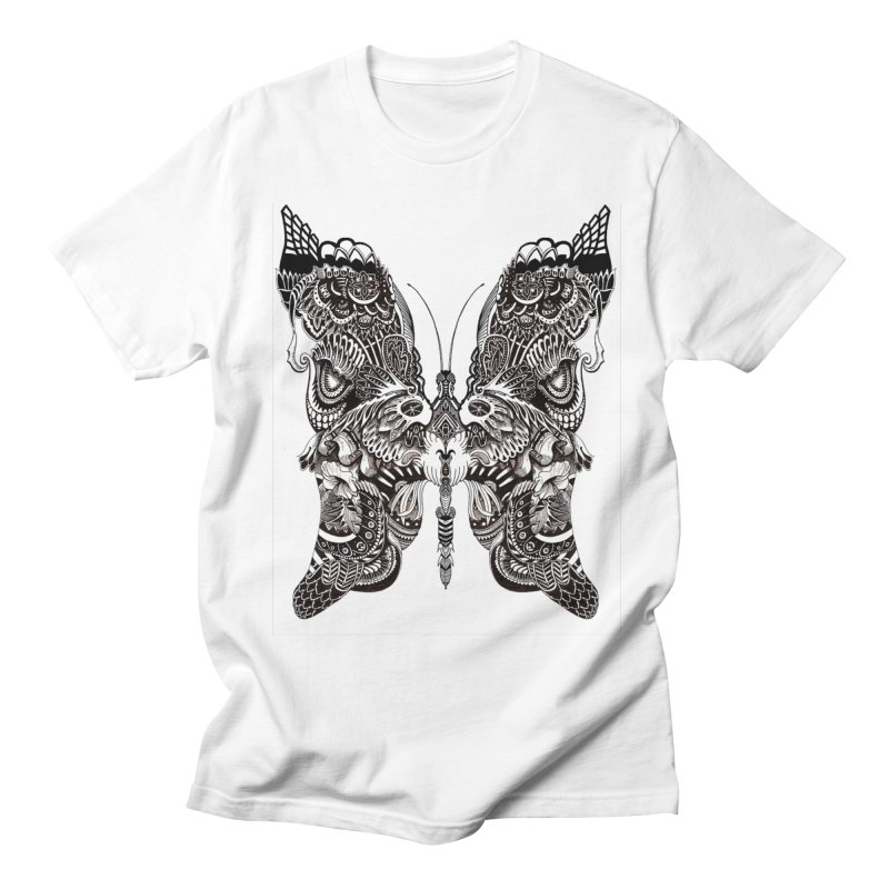 Butterfly in Men's Regular T-Shirt White by owenmaidstone's Artist Shop