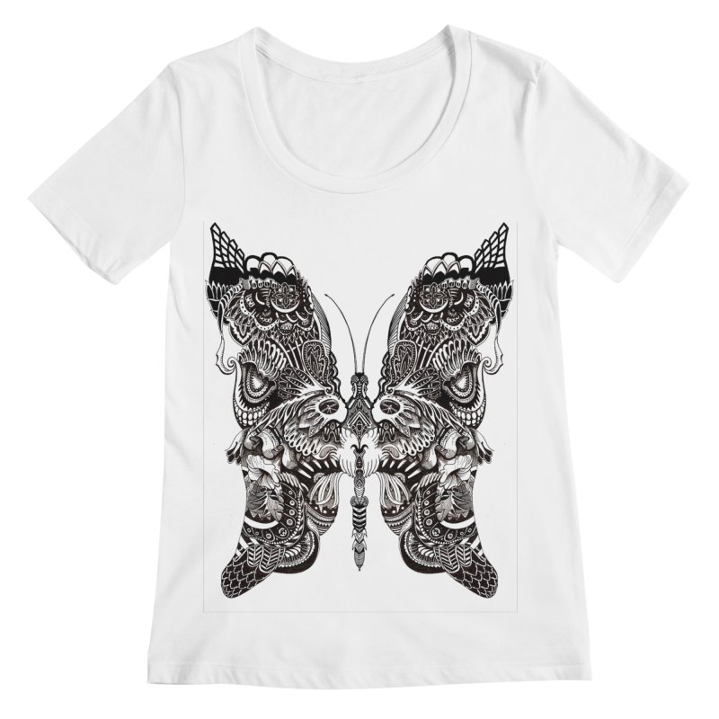Butterfly Women's Regular Scoop Neck by owenmaidstone's Artist Shop