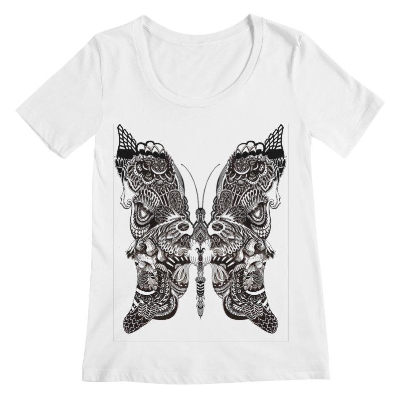 Butterfly Women's Scoopneck by owenmaidstone's Artist Shop