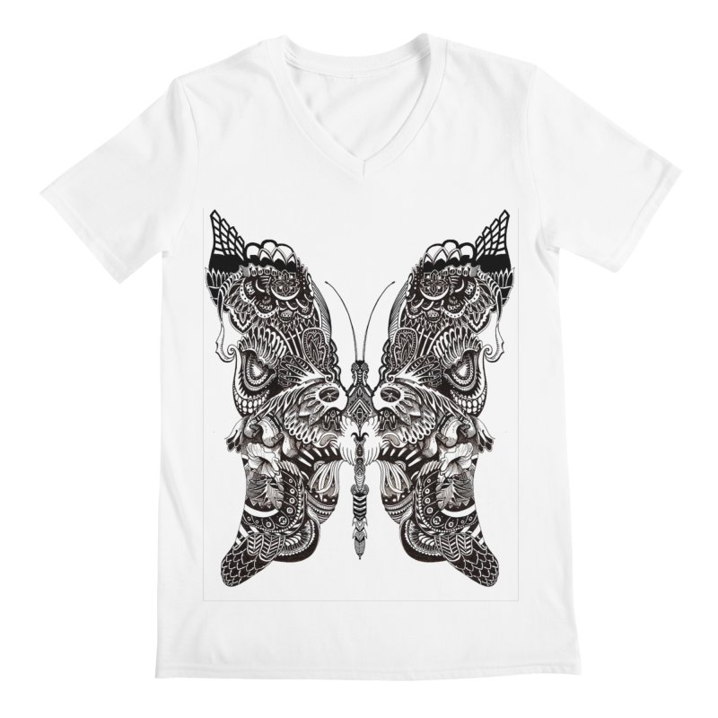 Butterfly Men's Regular V-Neck by owenmaidstone's Artist Shop