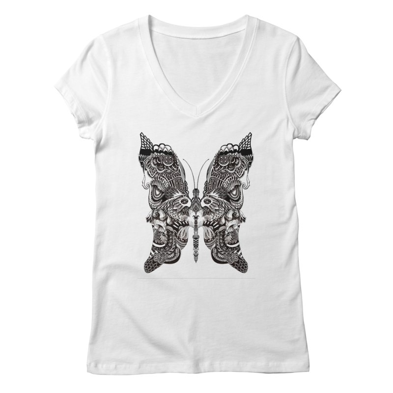 Butterfly Women's V-Neck by owenmaidstone's Artist Shop
