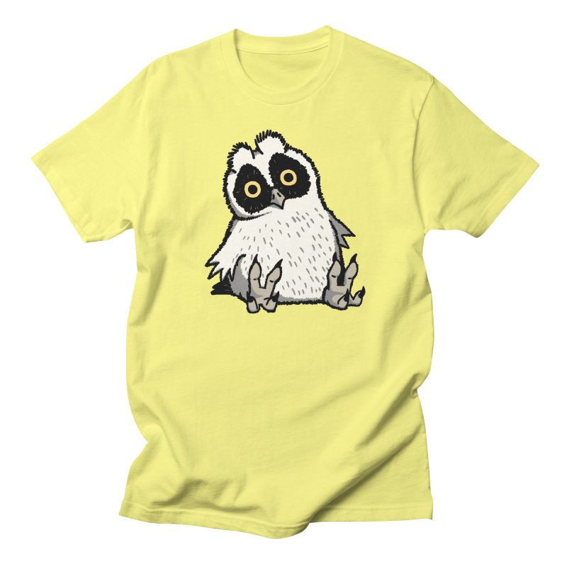 Curious Owlet in Women's Regular Unisex T-Shirt Lemon by Owl Basket