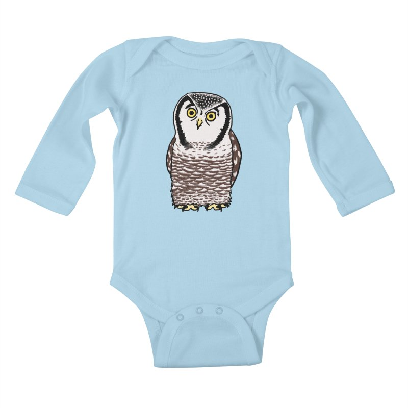 Hawk Owl Kids Baby Longsleeve Bodysuit by Owl Basket