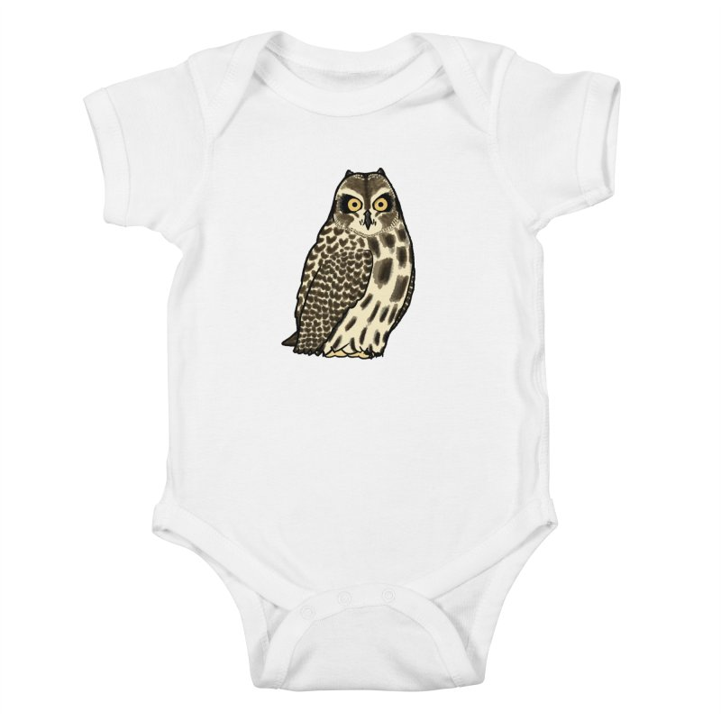 Short-eared Owl in Kids Baby Bodysuit White by Owl Basket