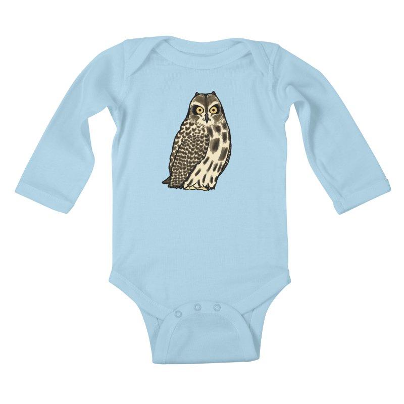 Short-eared Owl Kids Baby Longsleeve Bodysuit by Owl Basket
