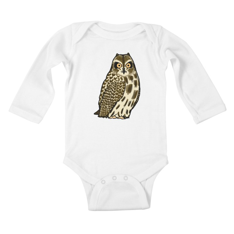 Short-eared Owl Kids Baby Longsleeve Bodysuit by Owl Basket