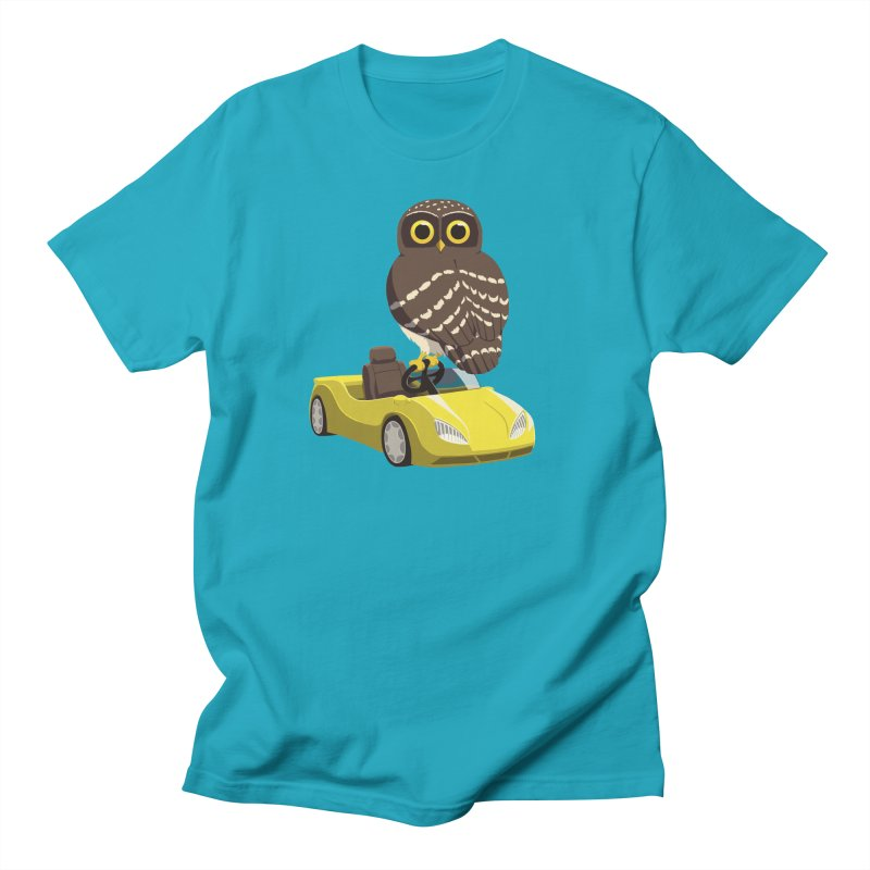 Driving Owl in Men's Regular T-Shirt Cyan by Owl Basket