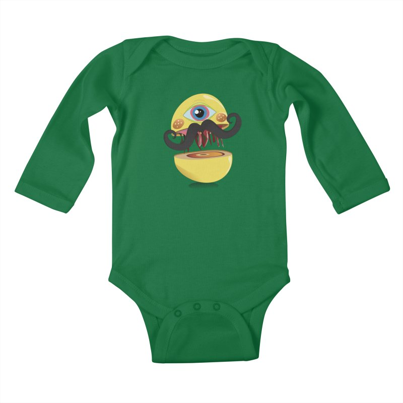 Burger Monsta Kids Baby Longsleeve Bodysuit by P34K's shop