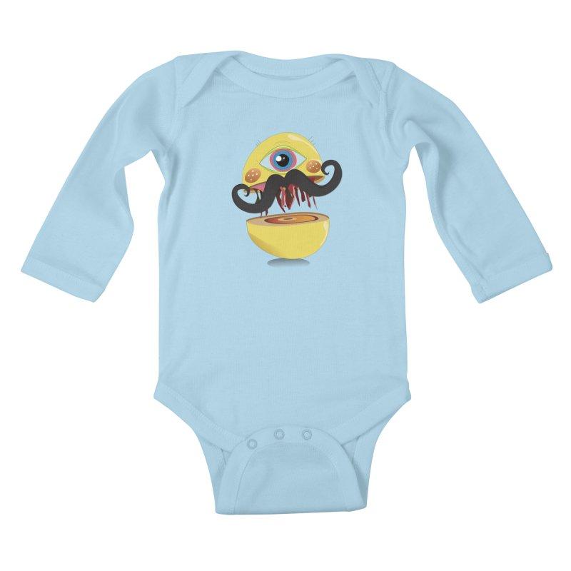 Burger Monsta Kids Baby Longsleeve Bodysuit by P34K's shop