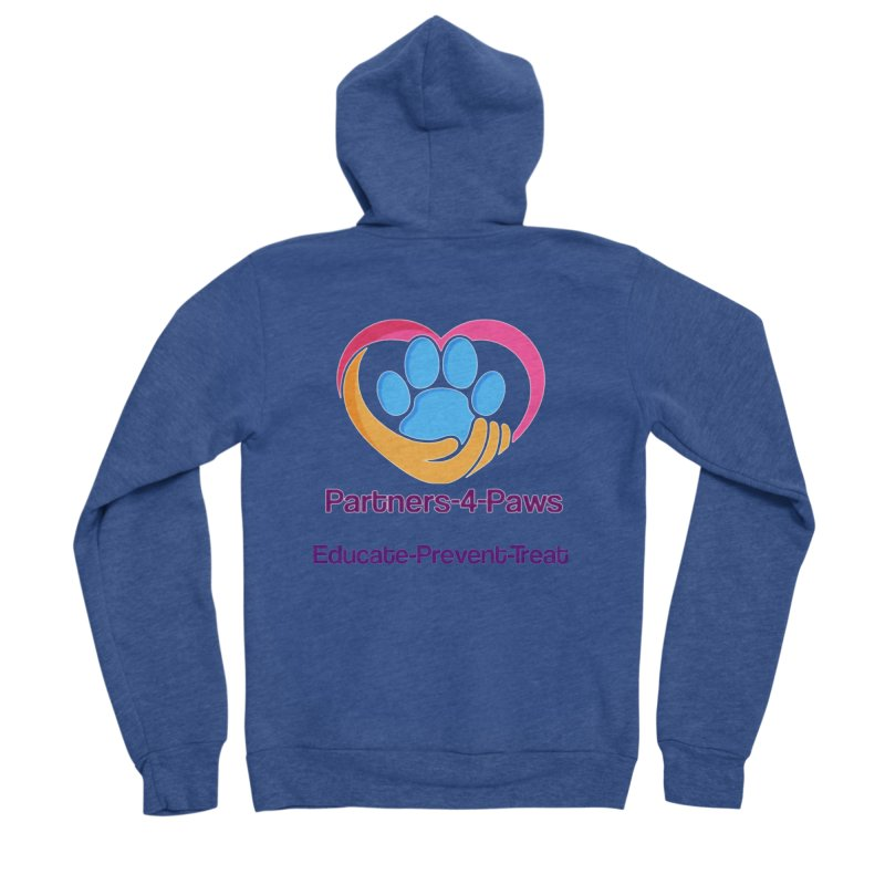 Partners-4-Paws logo shirt Women's Sponge Fleece Zip-Up Hoody by The Gear Shop