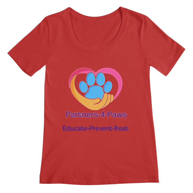 Partners-4-Paws logo shirt Women's Regular Scoop Neck by The Gear Shop