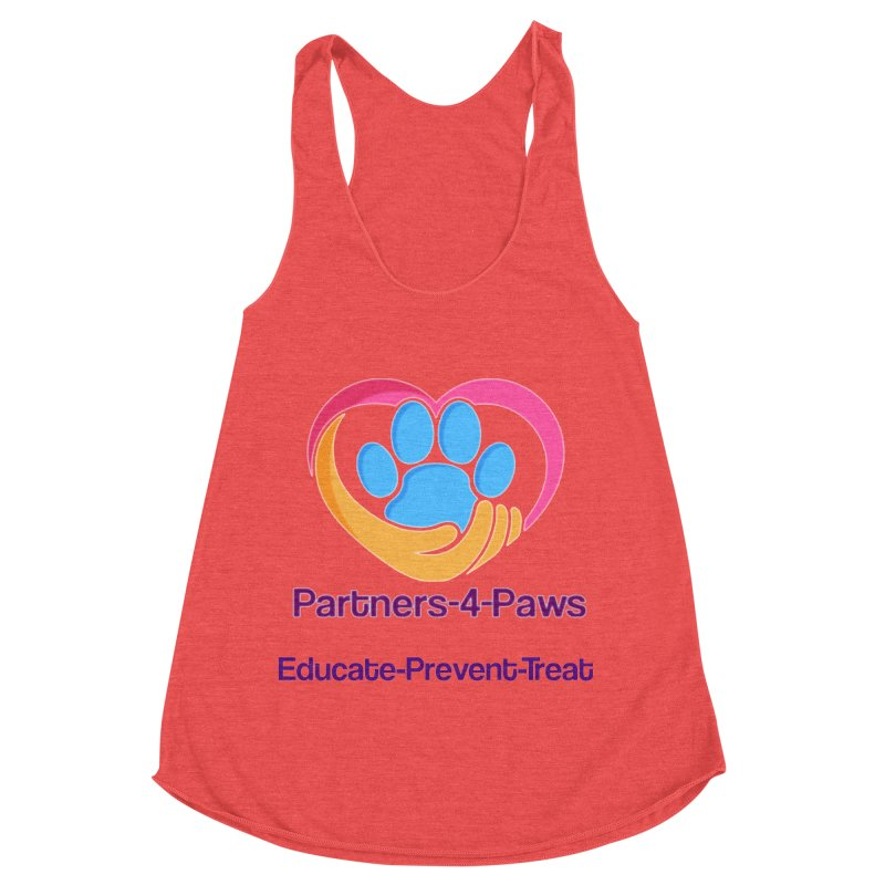 Partners-4-Paws logo shirt Women's Racerback Triblend Tank by The Gear Shop