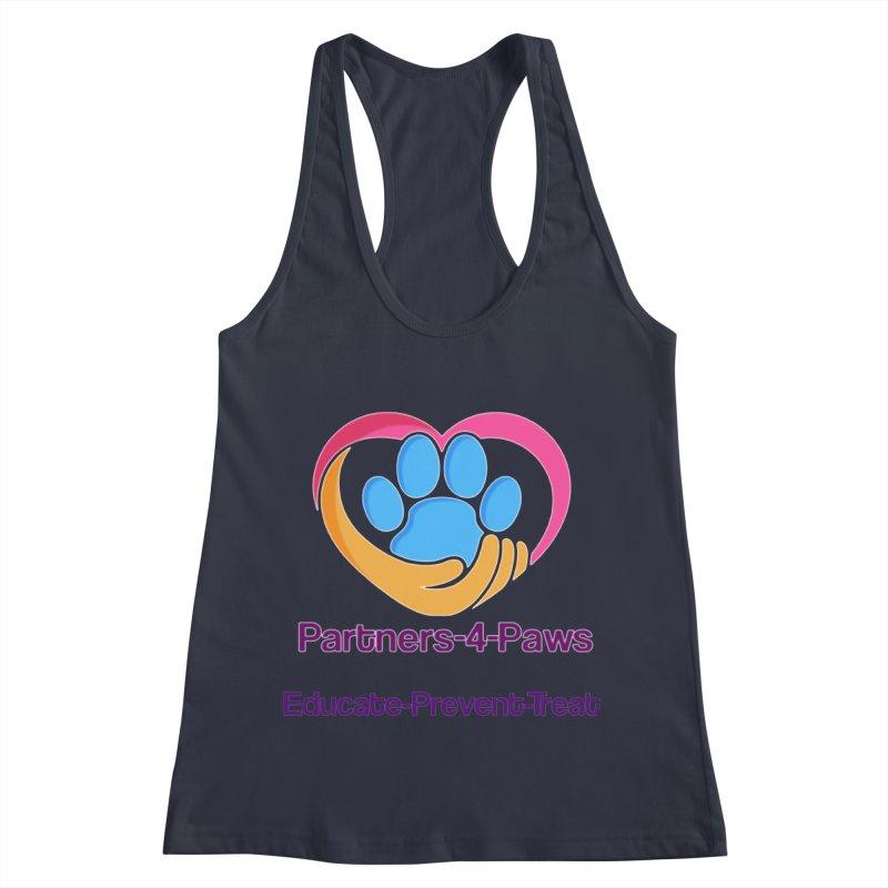 Partners-4-Paws logo shirt Women's Racerback Tank by The Gear Shop