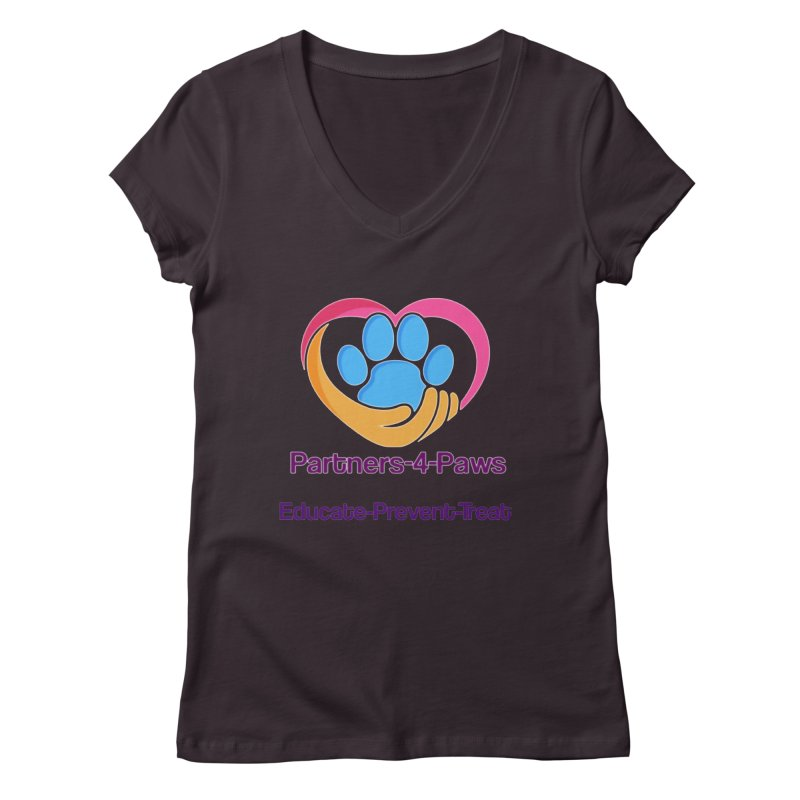 Partners-4-Paws logo shirt Women's Regular V-Neck by The Gear Shop