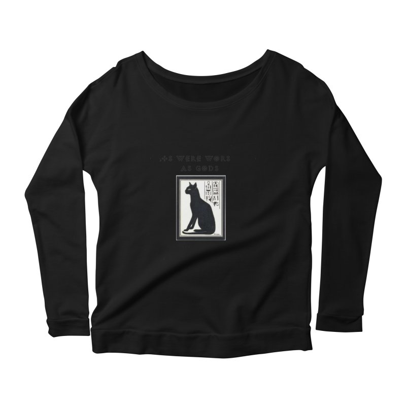 Cats are gods Women's Scoop Neck Longsleeve T-Shirt by The Gear Shop
