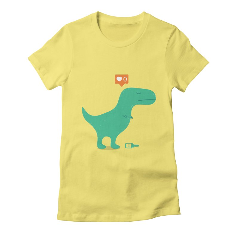 Loner Dino Women's Fitted T-Shirt by paagal's Artist Shop