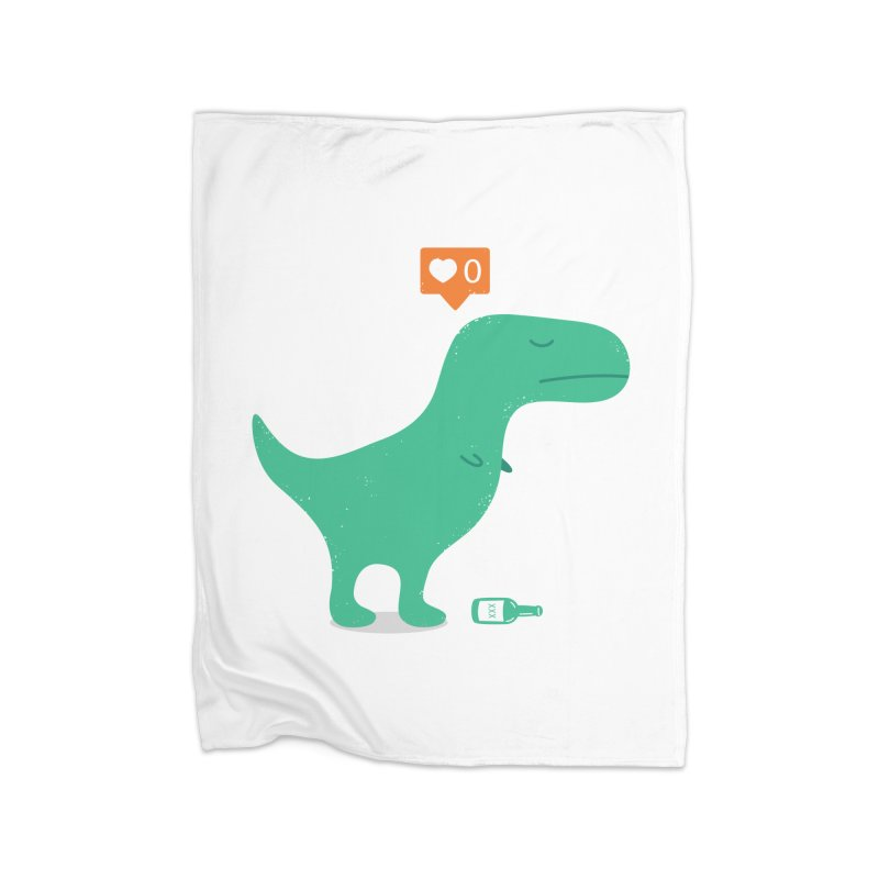 Loner Dino Home Fleece Blanket Blanket by paagal's Artist Shop