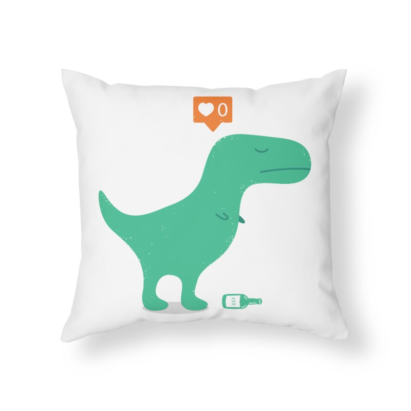 Loner Dino Home Throw Pillow by paagal's Artist Shop